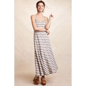 Anthropologie Maeve Striped Maxi Dress Blue Ivory